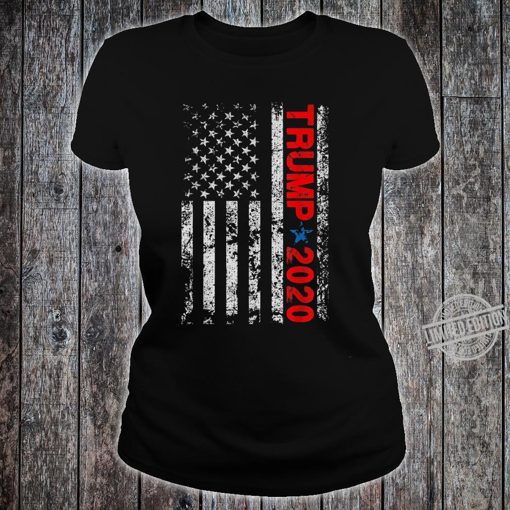 American USA Flag Trump 2020 Vintage Retro Shirt ladies tee