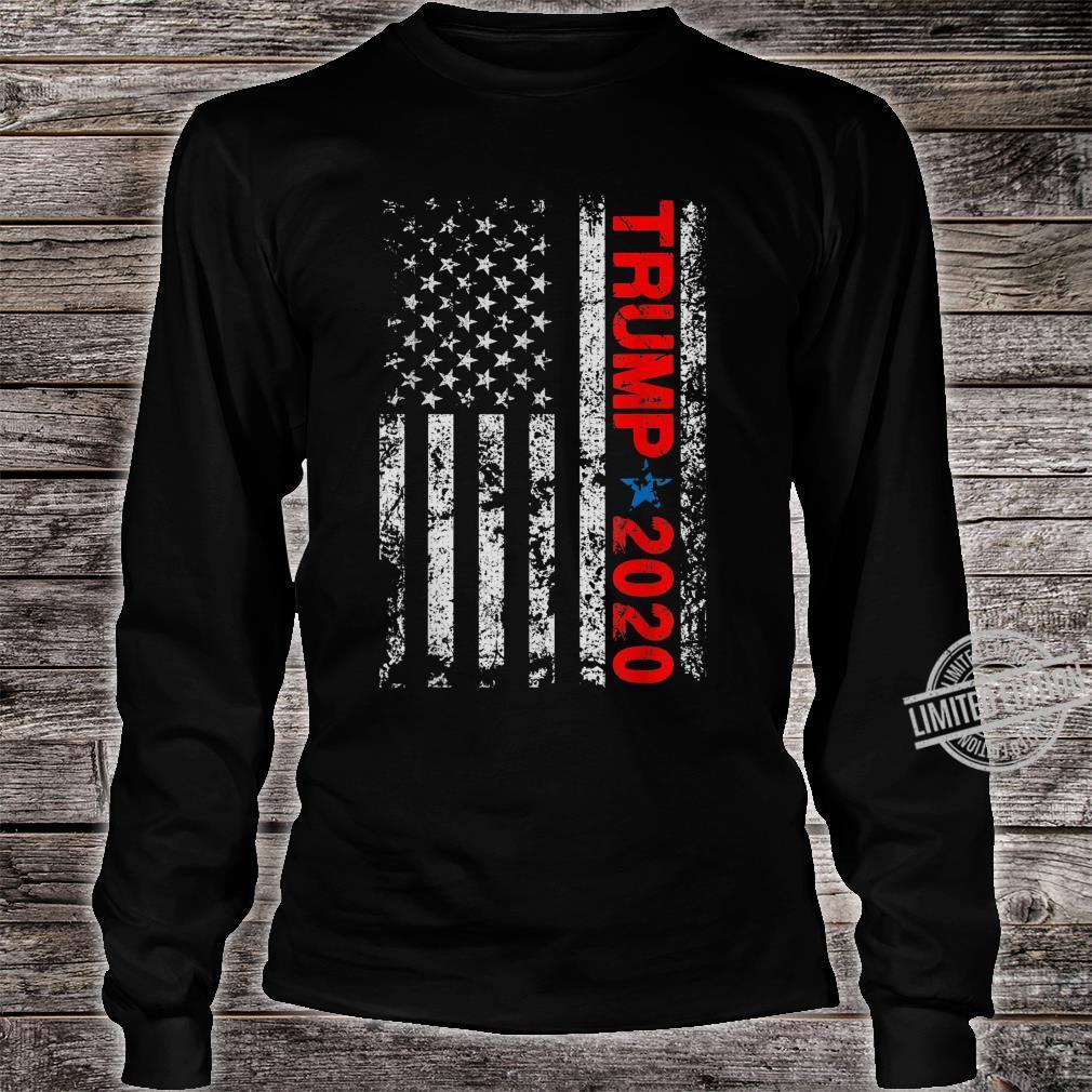 American USA Flag Trump 2020 Vintage Retro Shirt long sleeved