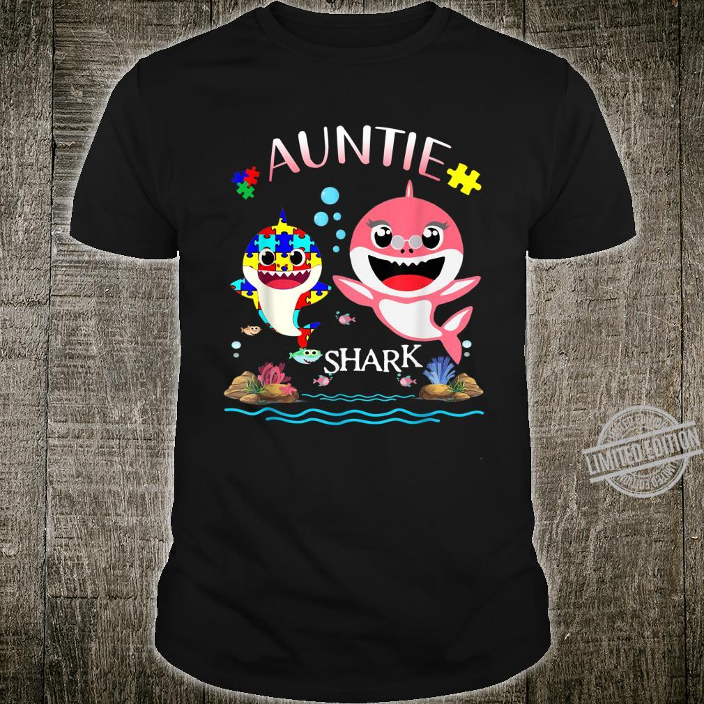 Auntie Shark Autism Awareness Love Support Mom Shirt