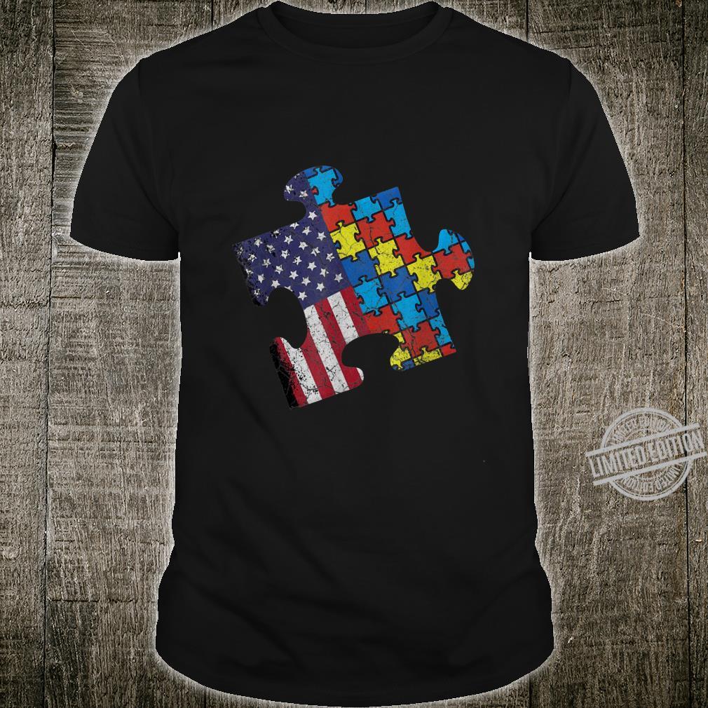 Autism Awareness American Flag Vintage Shirt