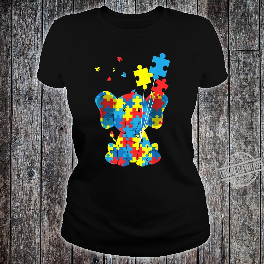 Autism Awareness Elephant Puzzle Pieces Embrace Difference Shirt ladies tee