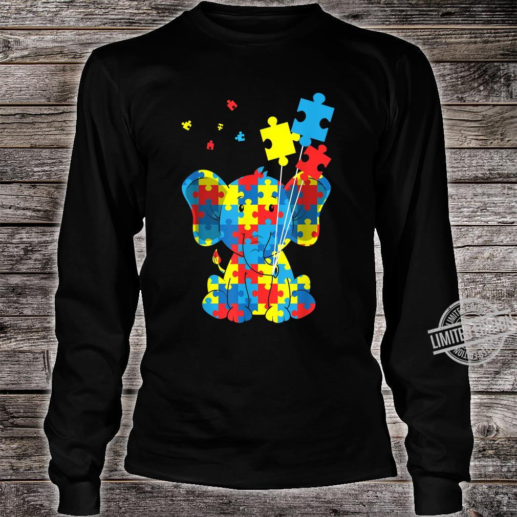 Autism Awareness Elephant Puzzle Pieces Embrace Difference Shirt long sleeved