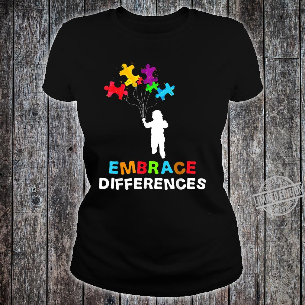 Autism Awareness Embrace Differences Puzzle Piece Shirt ladies tee
