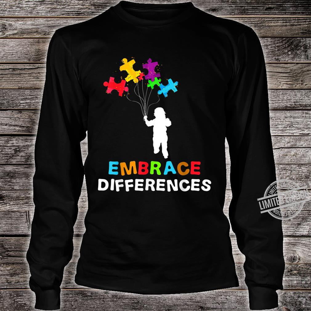Autism Awareness Embrace Differences Puzzle Piece Shirt long sleeved