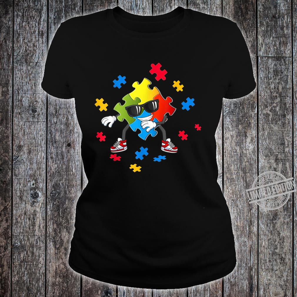 Autism Awareness Flossing Puzzle Pieces Girls Boys Shirt ladies tee