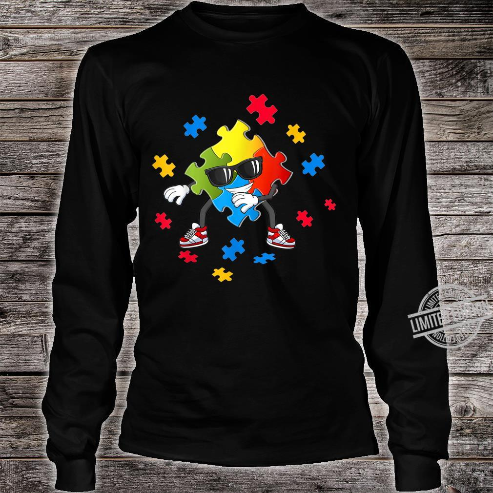 Autism Awareness Flossing Puzzle Pieces Girls Boys Shirt long sleeved