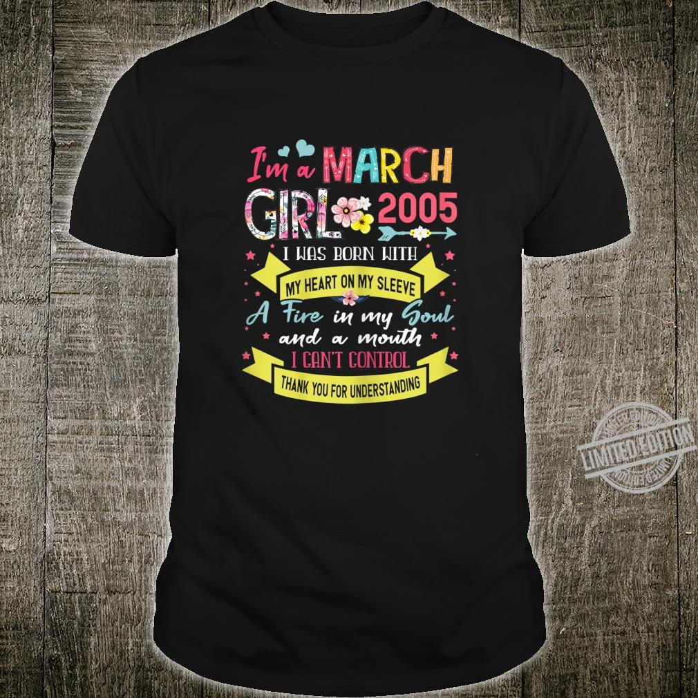 Awesome Since 2005 15th Birthday I'm A March Girl 2005 Shirt