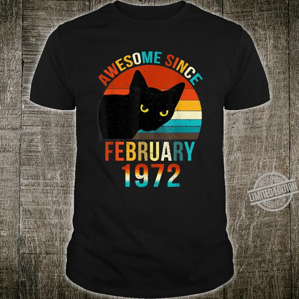 Awesome Since February 1972 48th Birthday Cat Shirt