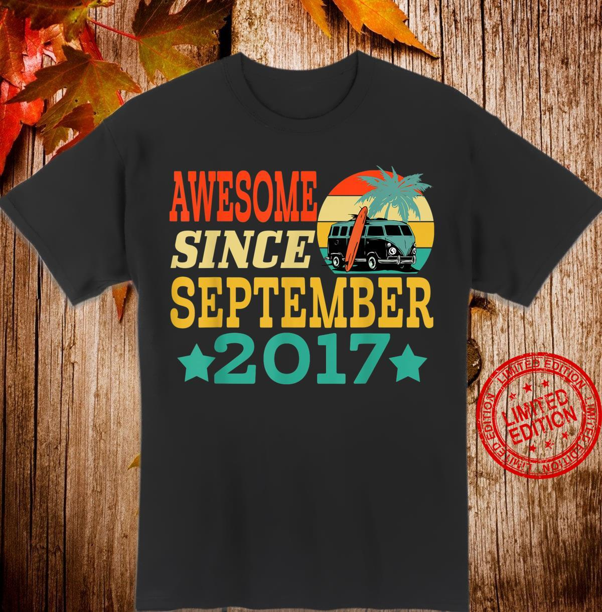 Awesome Since September 2017 3 Year Old Birthday Shirt