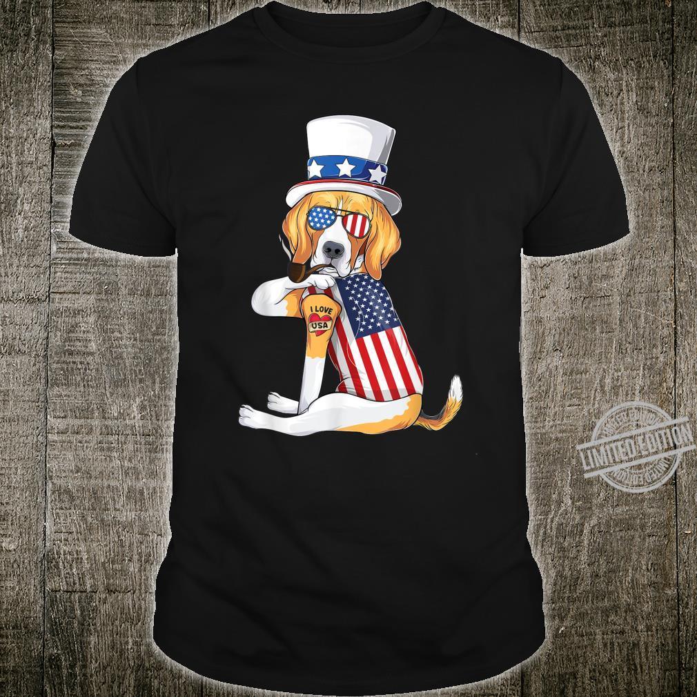 Beagle dog Merica 4th of july usa american flag Shirt