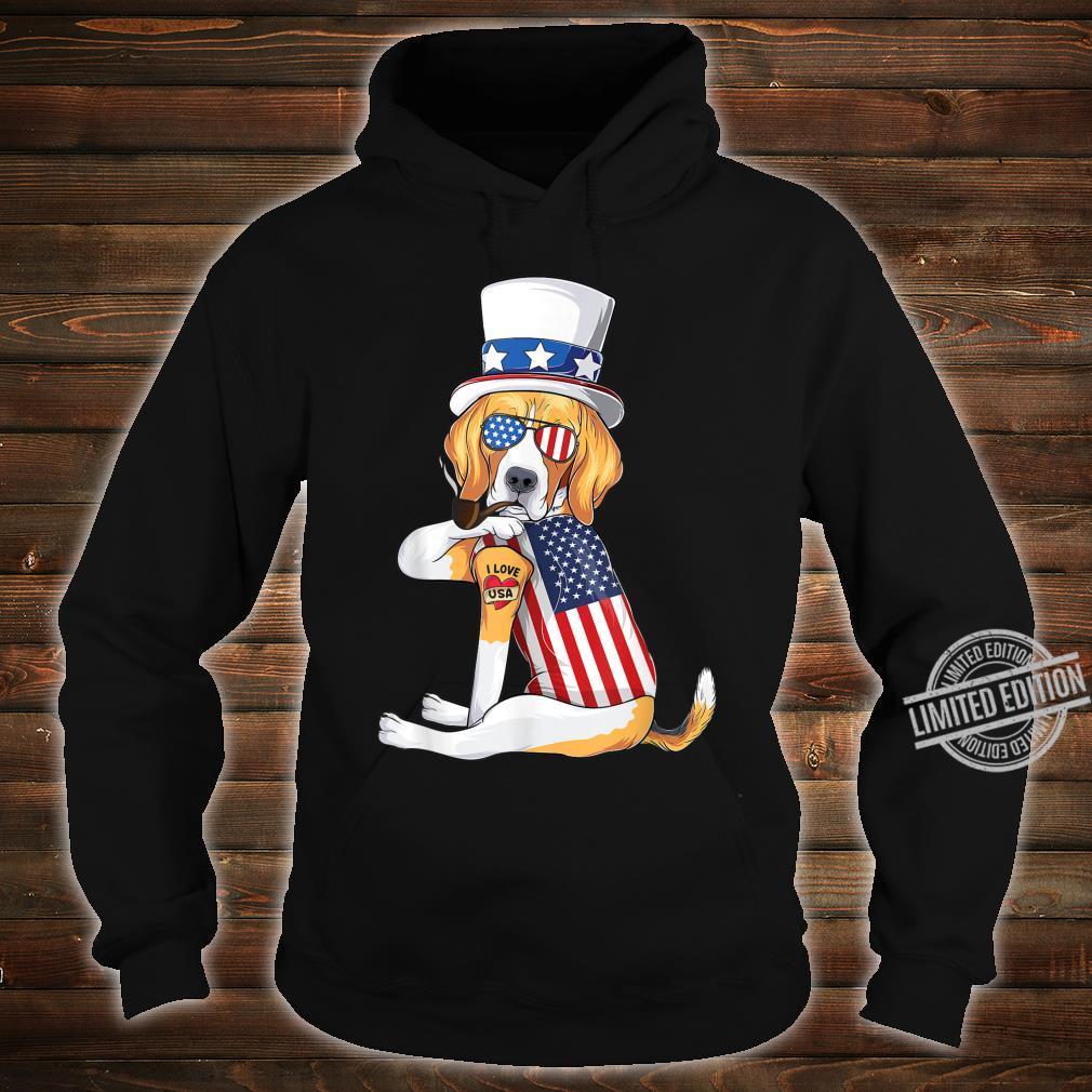 Beagle dog Merica 4th of july usa american flag Shirt hoodie