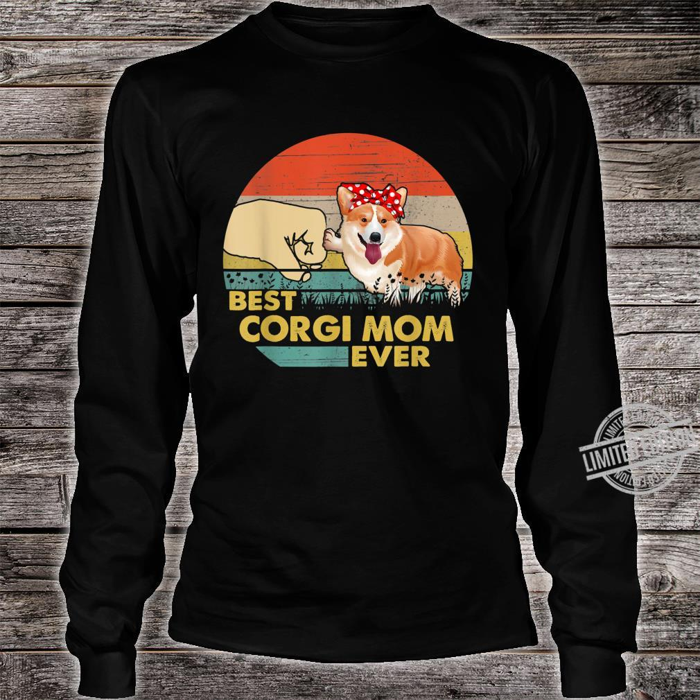 Best Corgi Mom Ever Retro Vintage Mom Mother's Day Shirt long sleeved