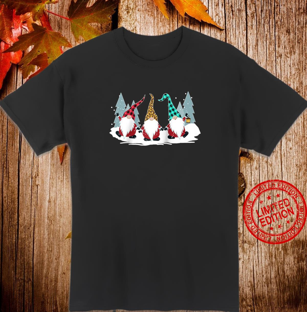 Christmas Gnomes Family Buffalo Plaid Leopard Hat Xmas Shirt