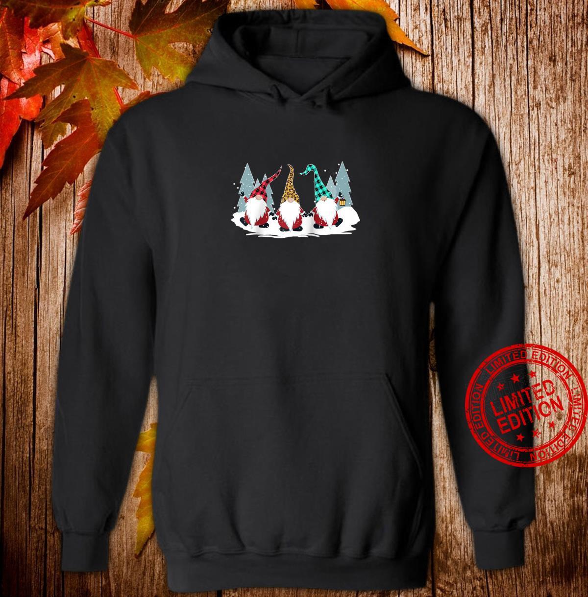 Christmas Gnomes Family Buffalo Plaid Leopard Hat Xmas Shirt hoodie