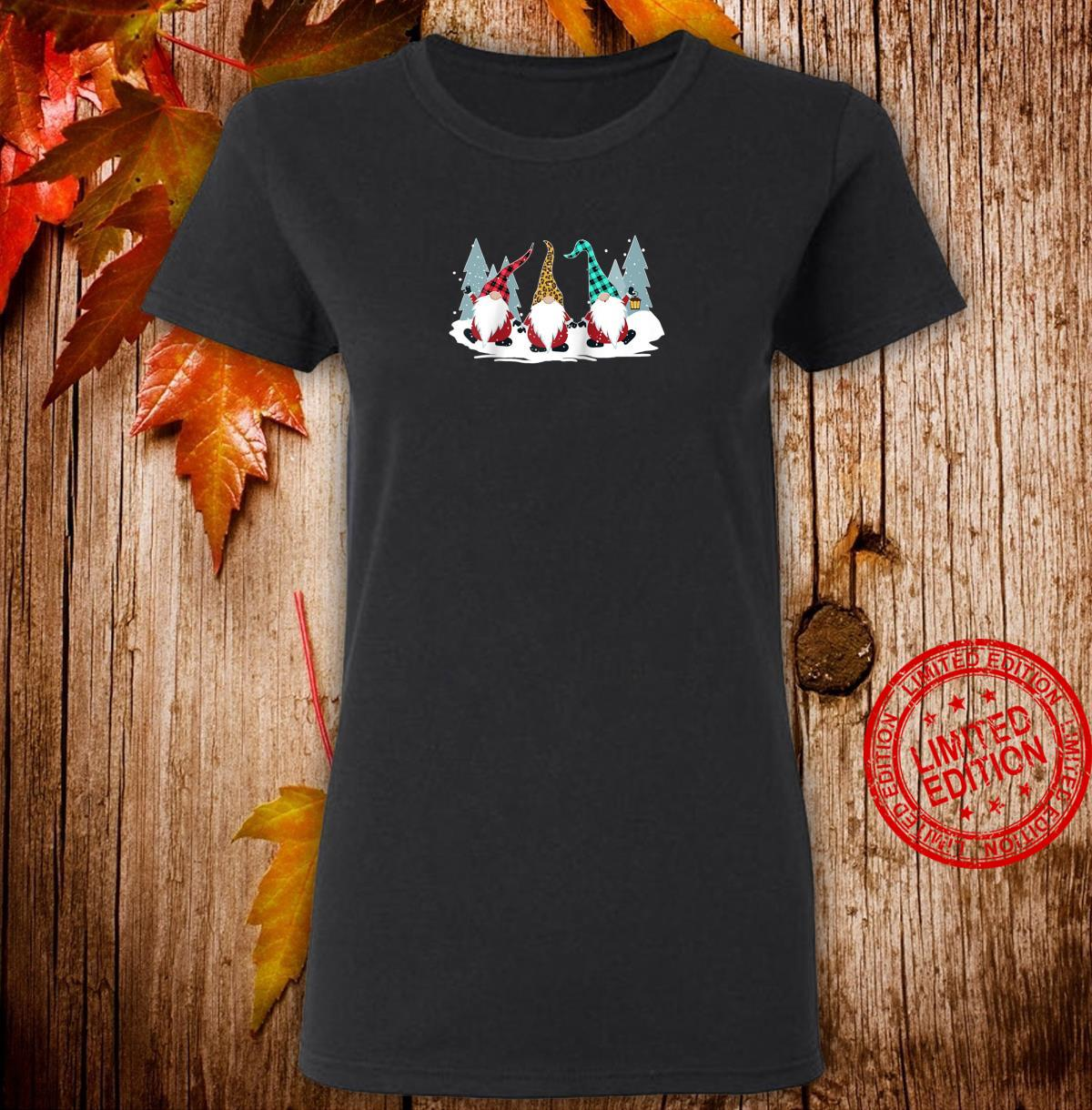 Christmas Gnomes Family Buffalo Plaid Leopard Hat Xmas Shirt ladies tee