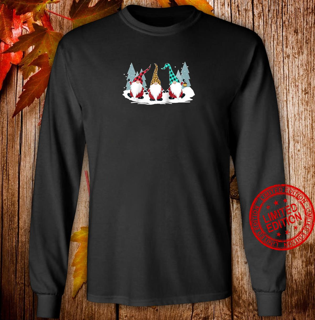 Christmas Gnomes Family Buffalo Plaid Leopard Hat Xmas Shirt long sleeved