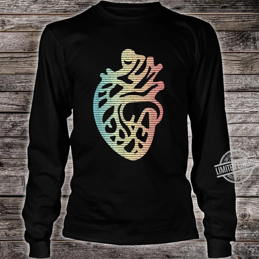 Cool Binary Code Heart Red and Black Pattern Background Shirt long sleeved