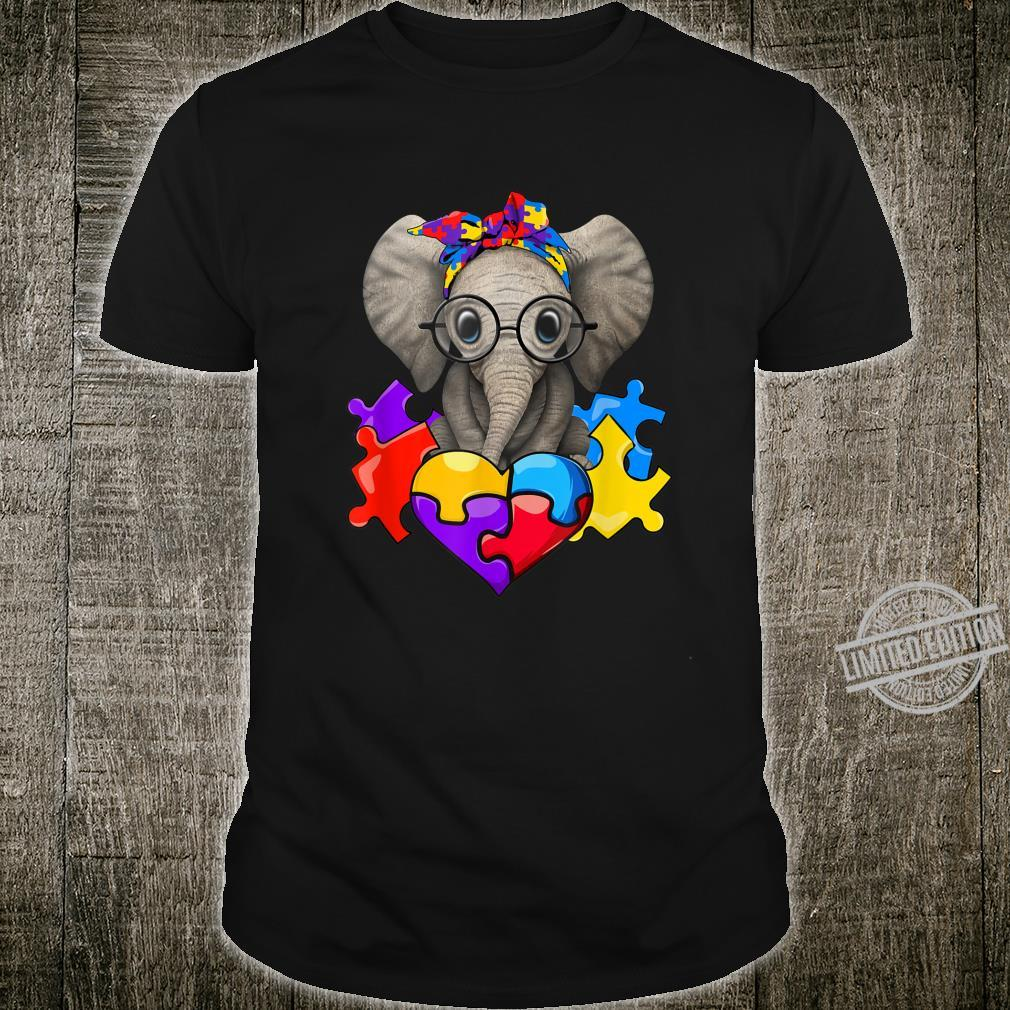 Cute Elephant Autism Awareness Day Puzzle Heart Headband Shirt