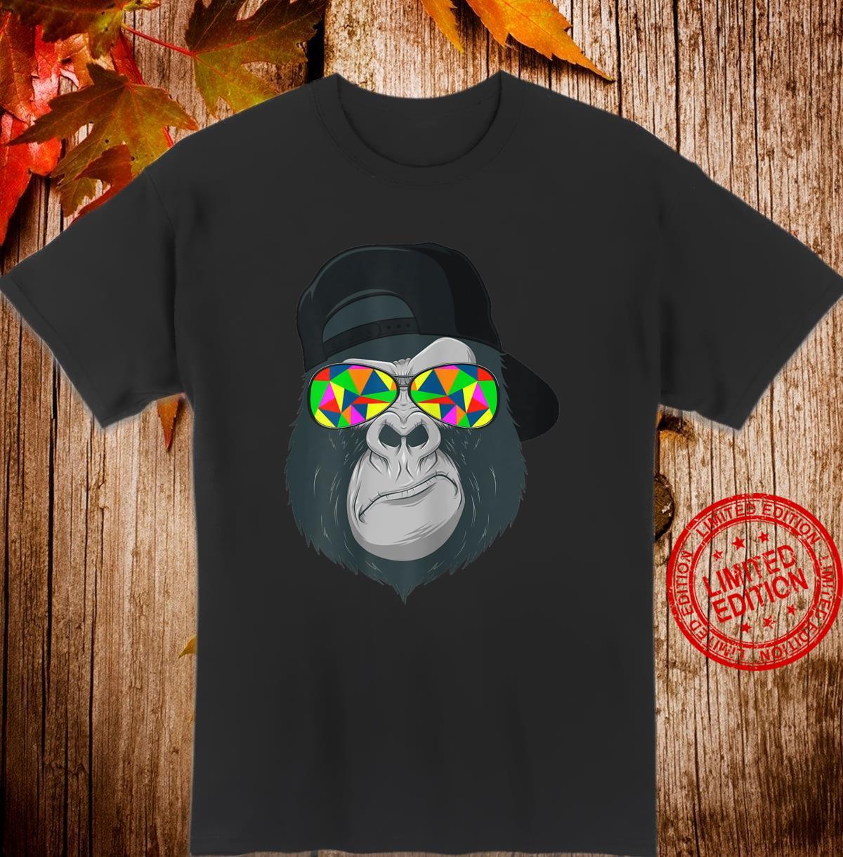 Damen Gorilla Affen Kopf Gesicht mit bunter Sonnenbrille und Cap Shirt
