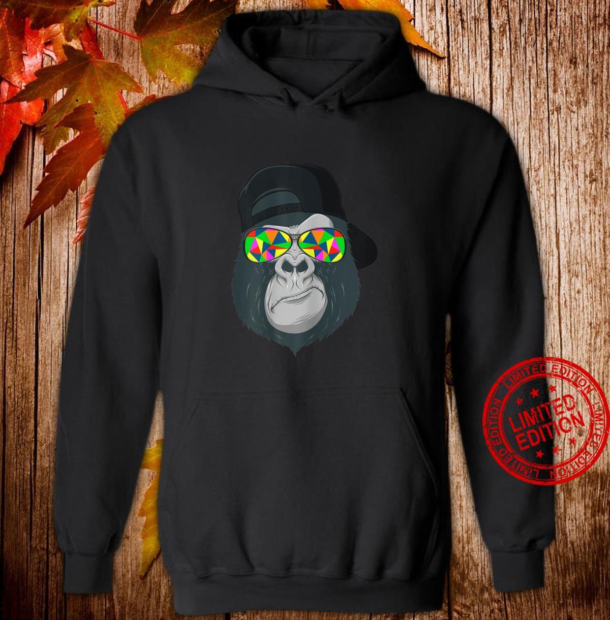 Damen Gorilla Affen Kopf Gesicht mit bunter Sonnenbrille und Cap Shirt hoodie