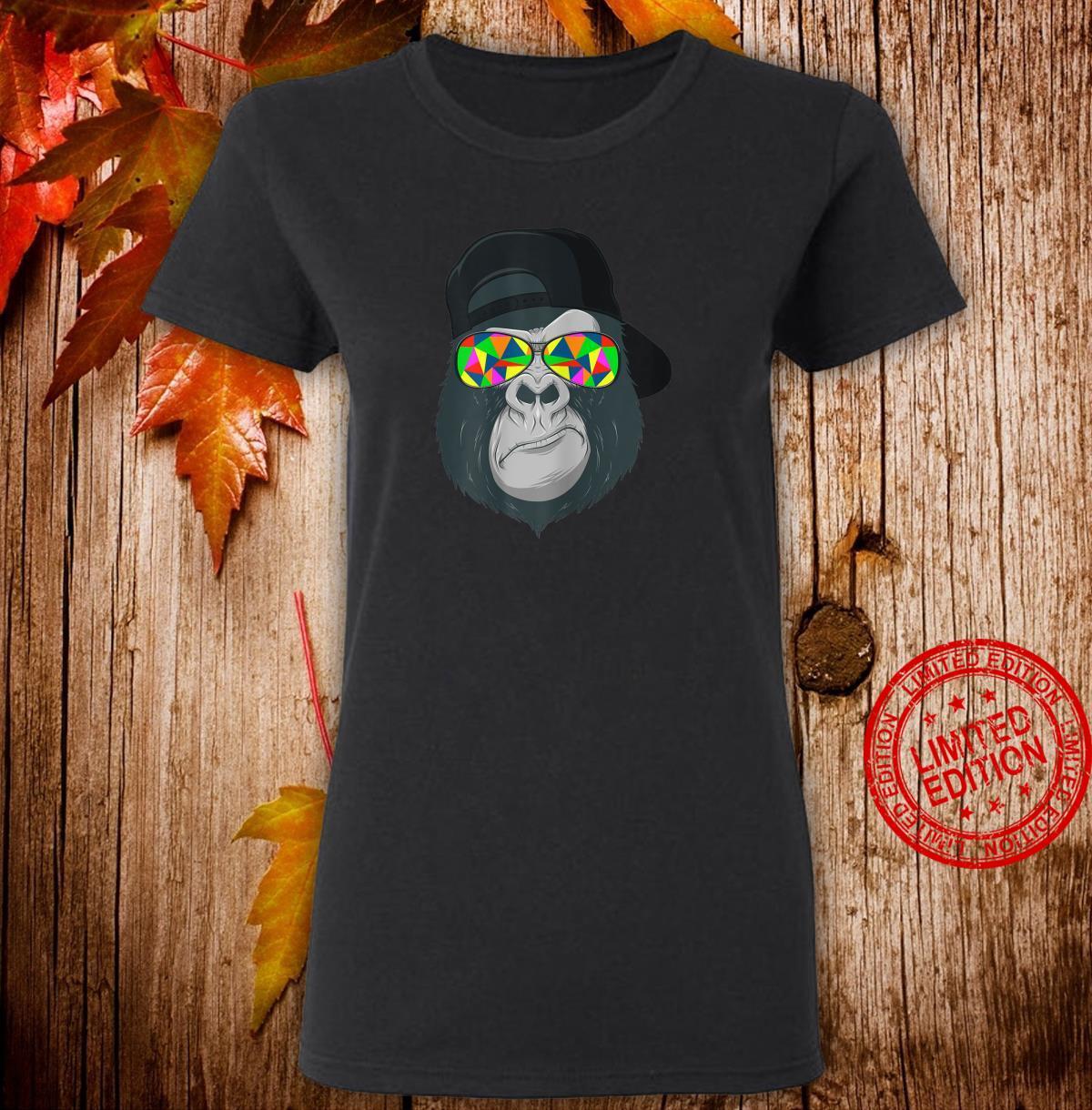 Damen Gorilla Affen Kopf Gesicht mit bunter Sonnenbrille und Cap Shirt ladies tee