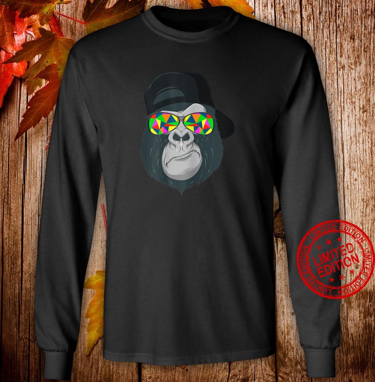 Damen Gorilla Affen Kopf Gesicht mit bunter Sonnenbrille und Cap Shirt long sleeved