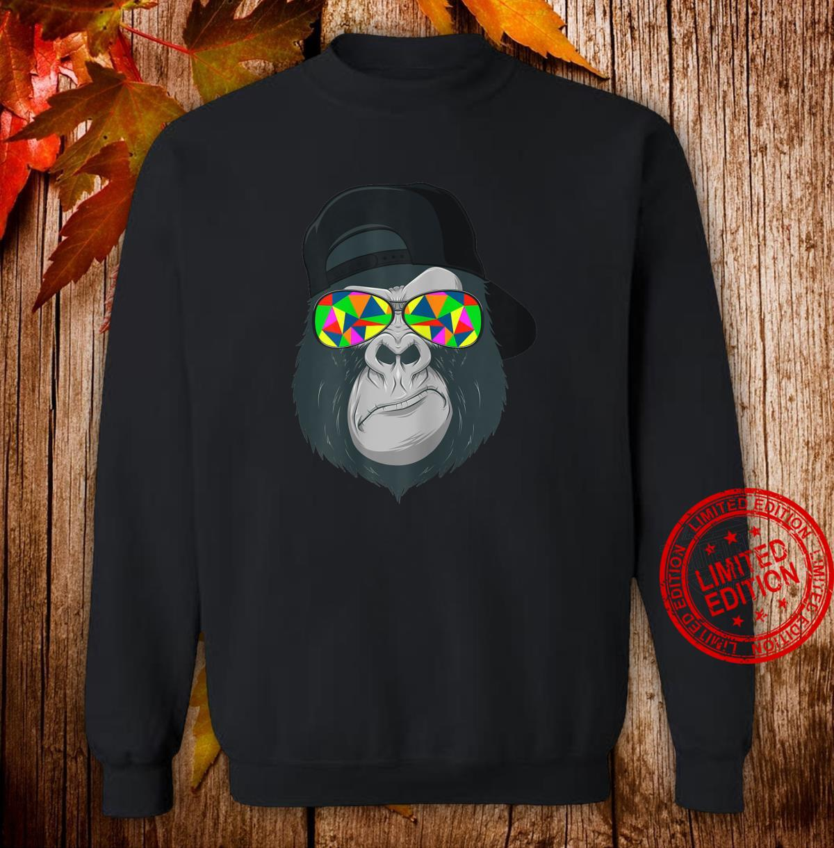 Damen Gorilla Affen Kopf Gesicht mit bunter Sonnenbrille und Cap Shirt sweater