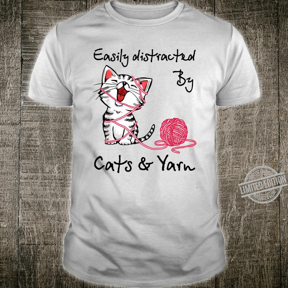 Easily Distracted By Cats And Yarn Crochet Cat Shirt