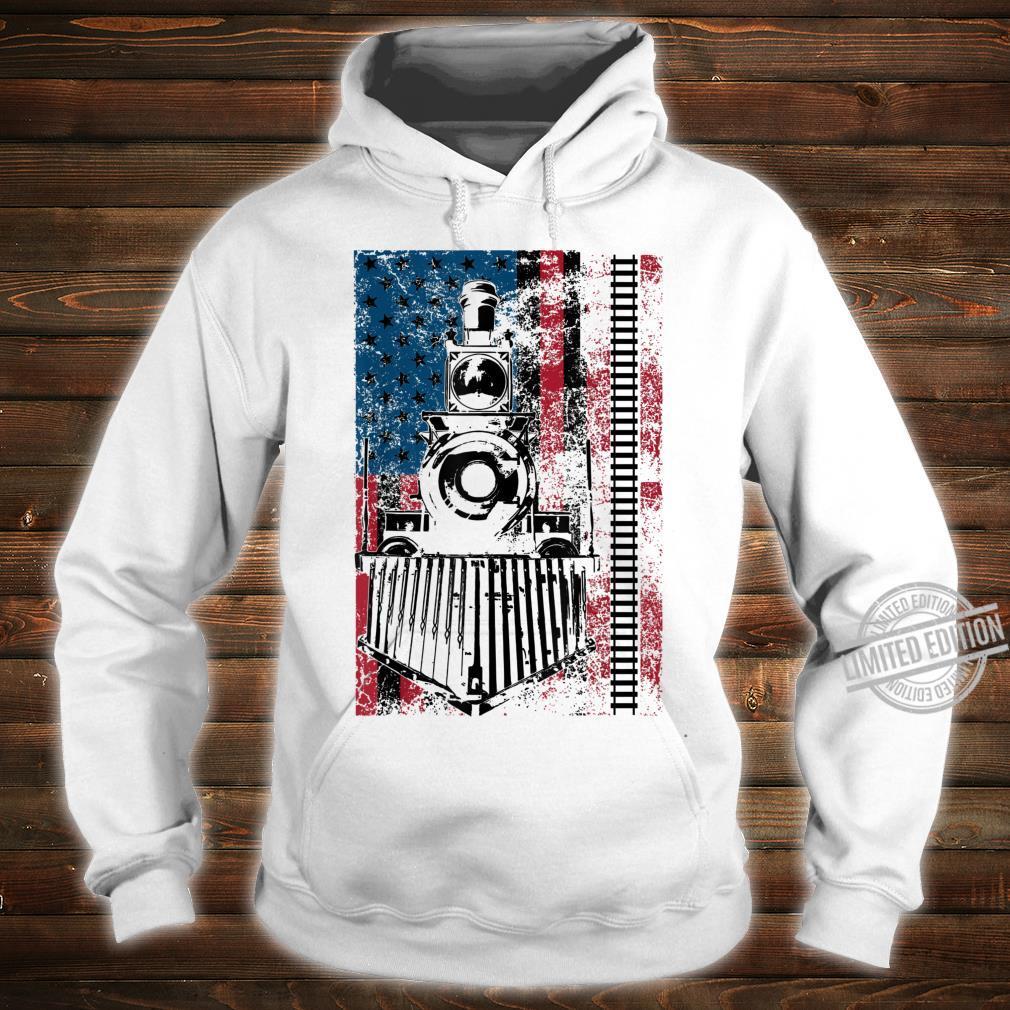 Funny Railroad Flag Trains Cool USA Shirt hoodie