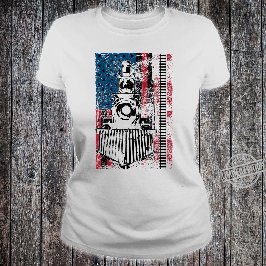 Funny Railroad Flag Trains Cool USA Shirt ladies tee