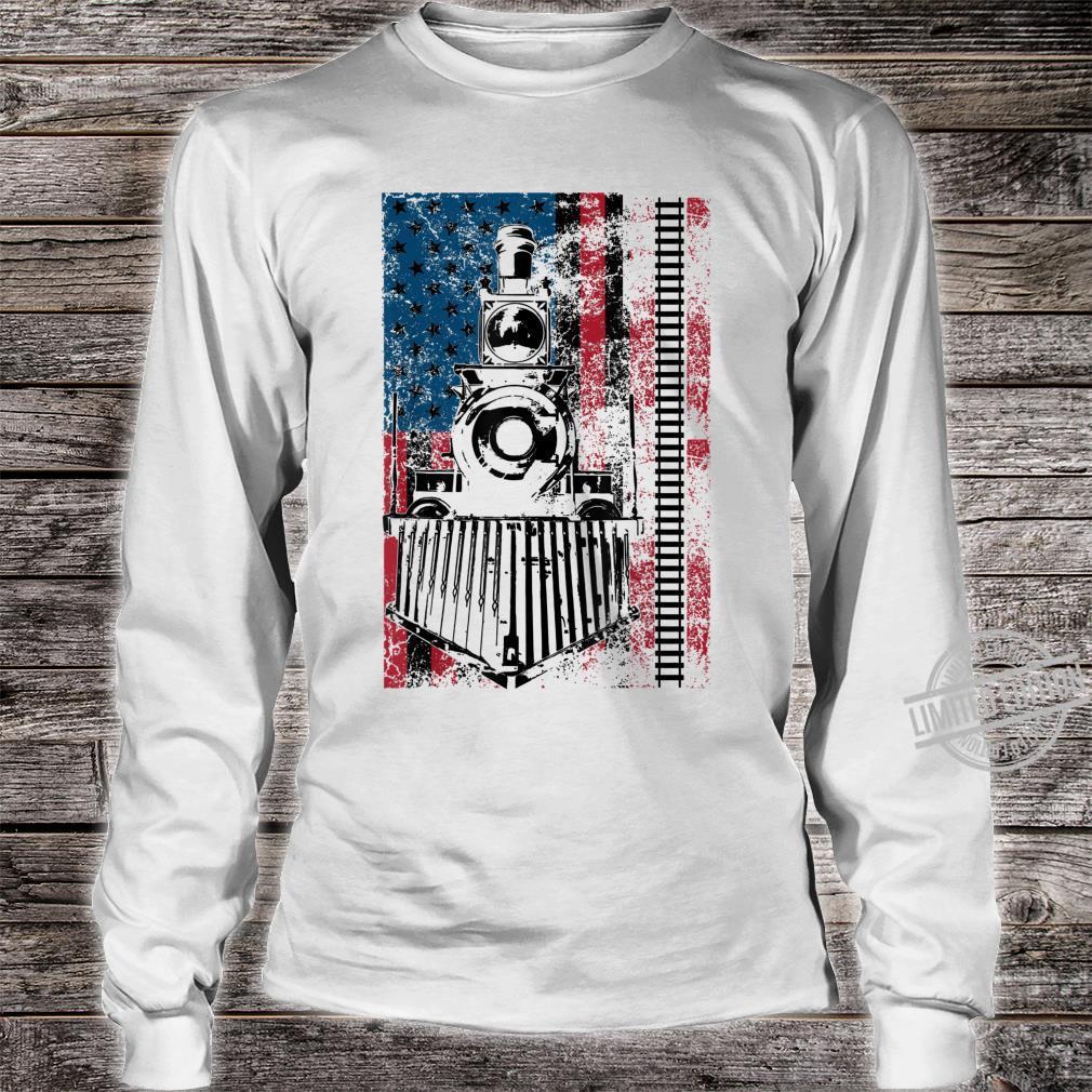 Funny Railroad Flag Trains Cool USA Shirt long sleeved