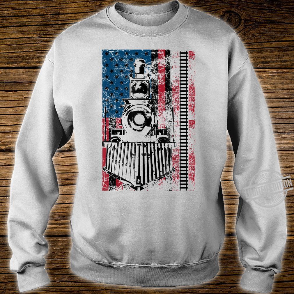 Funny Railroad Flag Trains Cool USA Shirt sweater