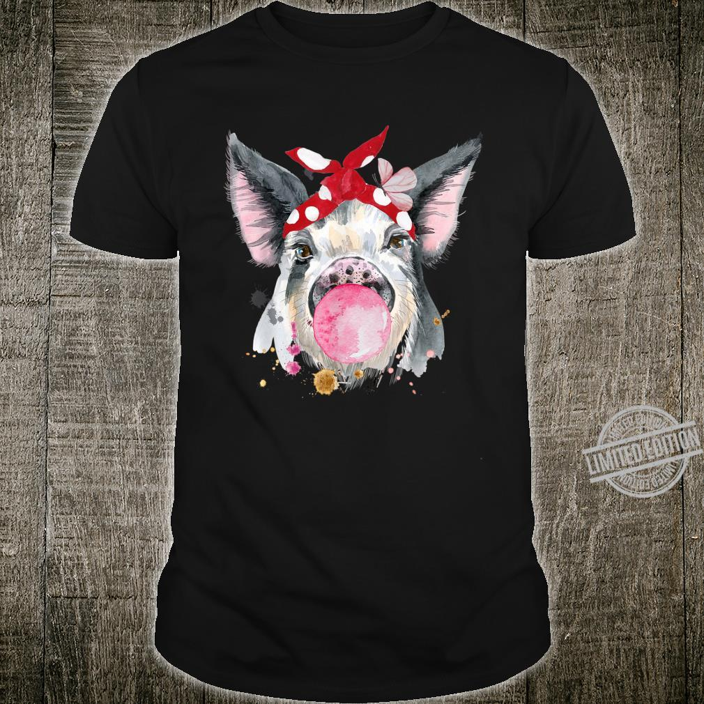 Funny Watercolor Pig with Bubblegum and Red Bandana Farmer Shirt