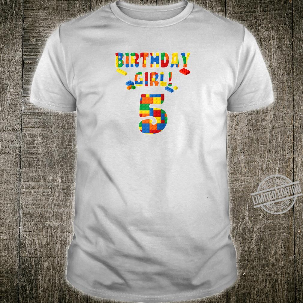 Happy Birthday Girl Age 5 Colorful Toy Block Pattern Party Shirt