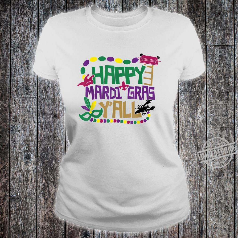 Happy Mardi Gras Y'all Shirt Beads Festival Costume Shirt ladies tee