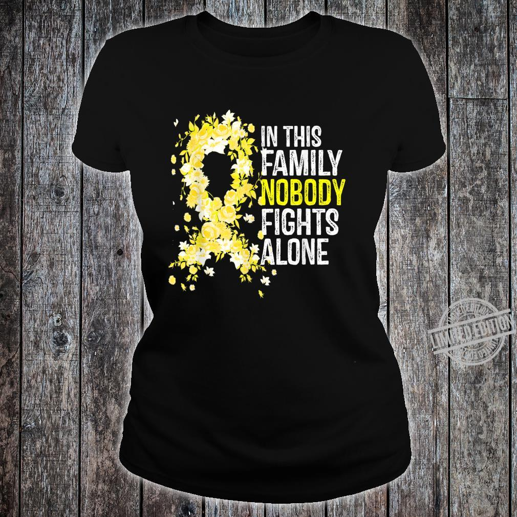 In This Family Nobody Fights Alone Yellow Ribbon Cute Shirt ladies tee