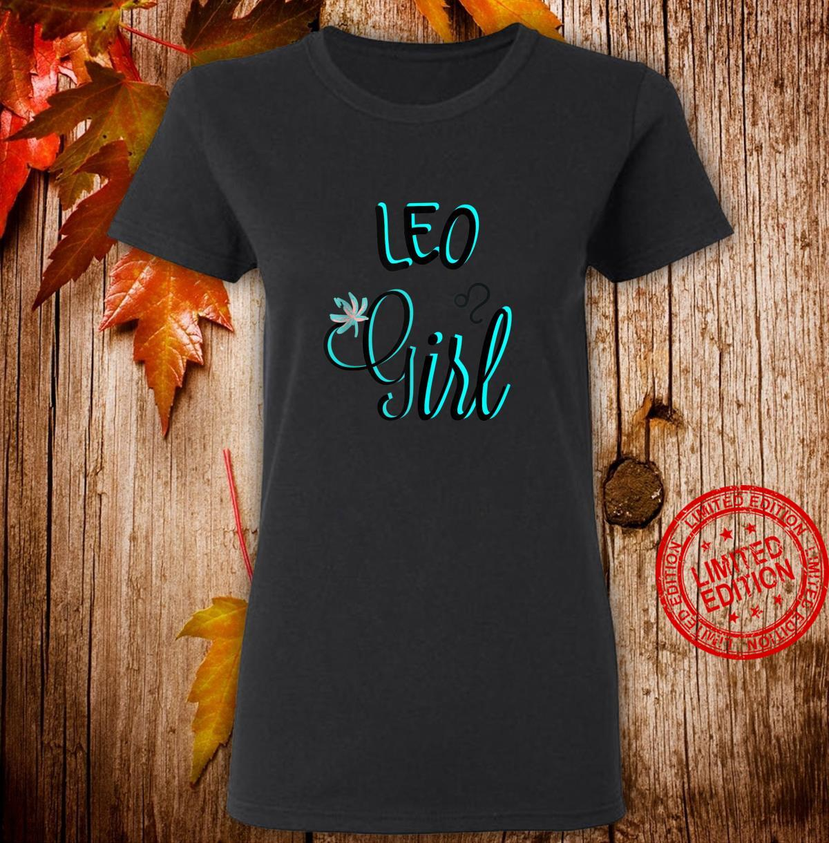 LEO Girl August Bright Blue Fonts Shirt ladies tee