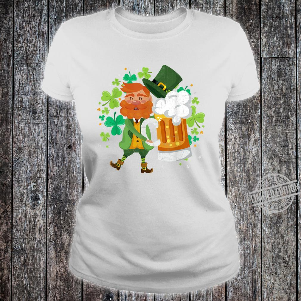 Leprechaun Beer Shamrock Drinking St Patrick's Day Shirt ladies tee