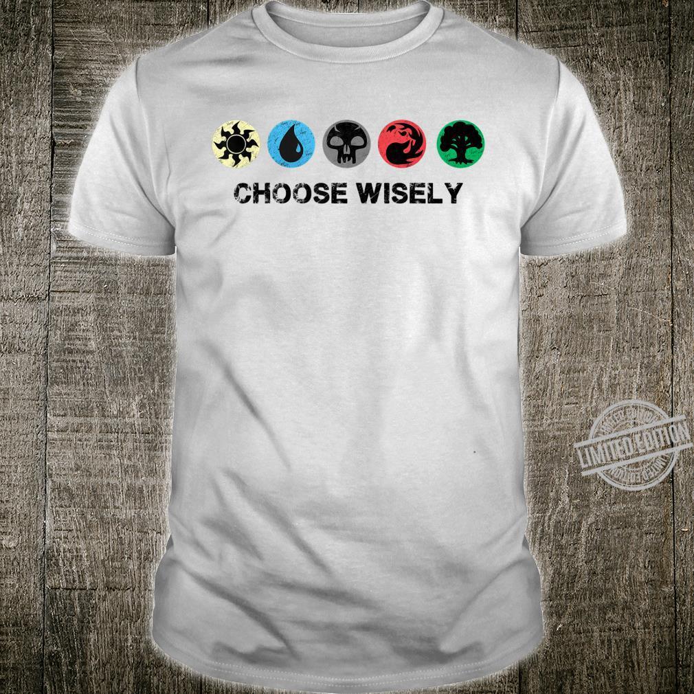 Mana Symbols Gathering Magic Choose Wisely Blue Red Green Shirt