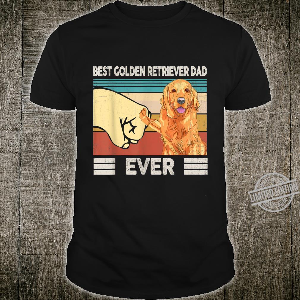 Mens Best Golden Retriever Dad Ever Retro Vintage Father's Day Shirt