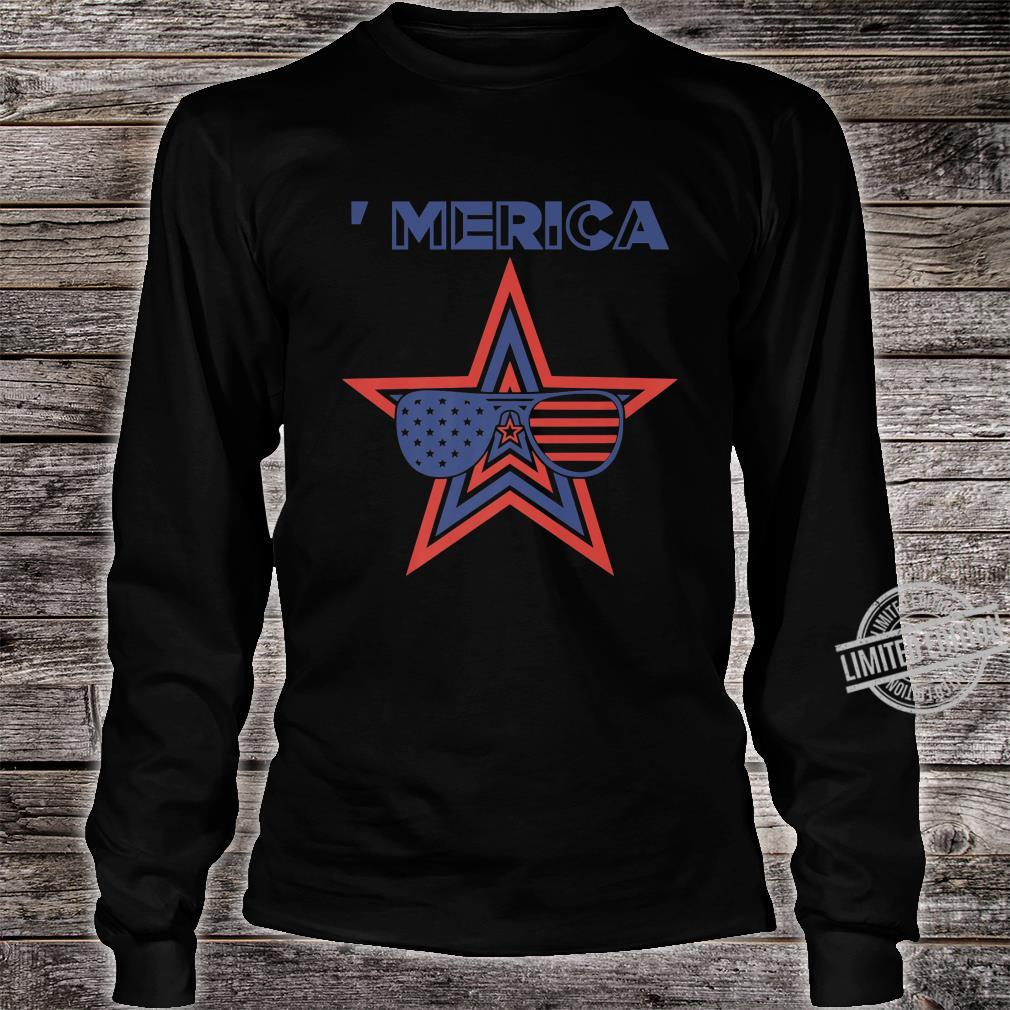 Merica Toddler Patriotic American Aviators Flag Shirt long sleeved