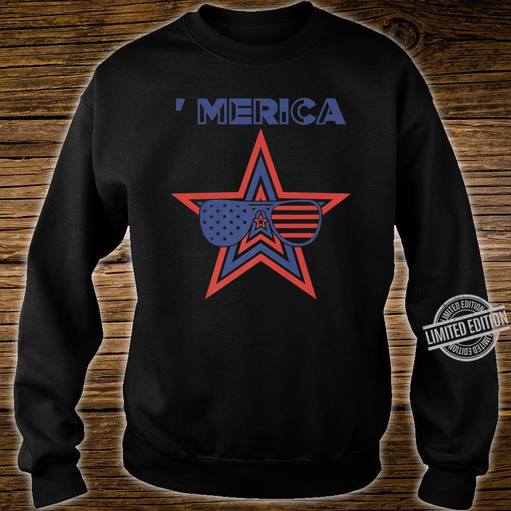 Merica Toddler Patriotic American Aviators Flag Shirt sweater