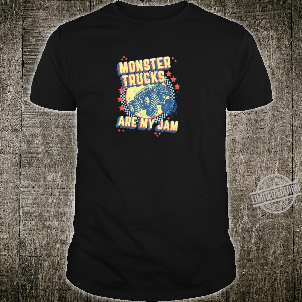 Monster Trucks Are My Jam Checkered Flag 4x4 Racing Design Shirt