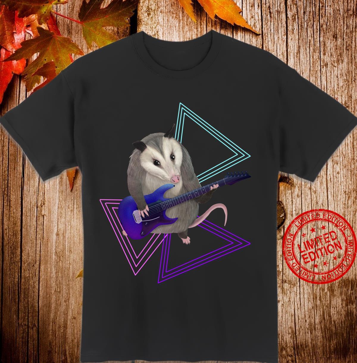 Opossum spielt EGitarre Langarmshirt Shirt