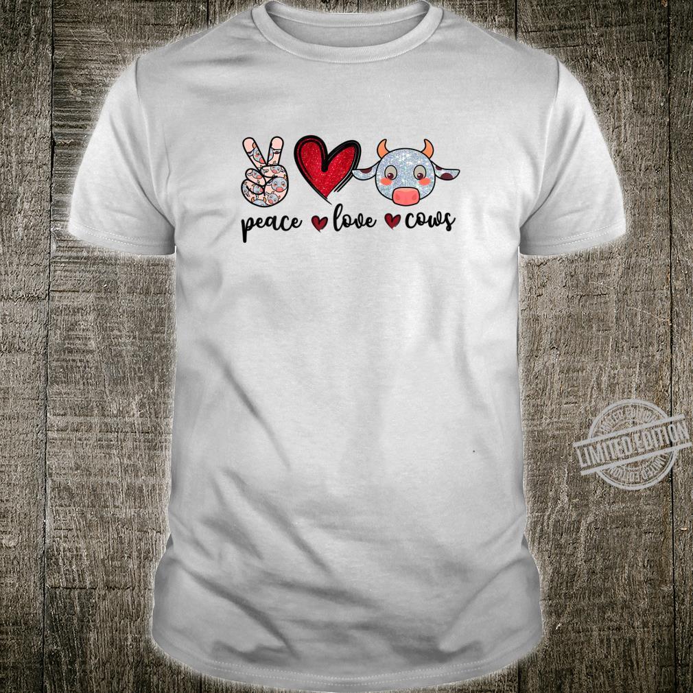 Peace Love Cows Cow Farmer Girls Shirt