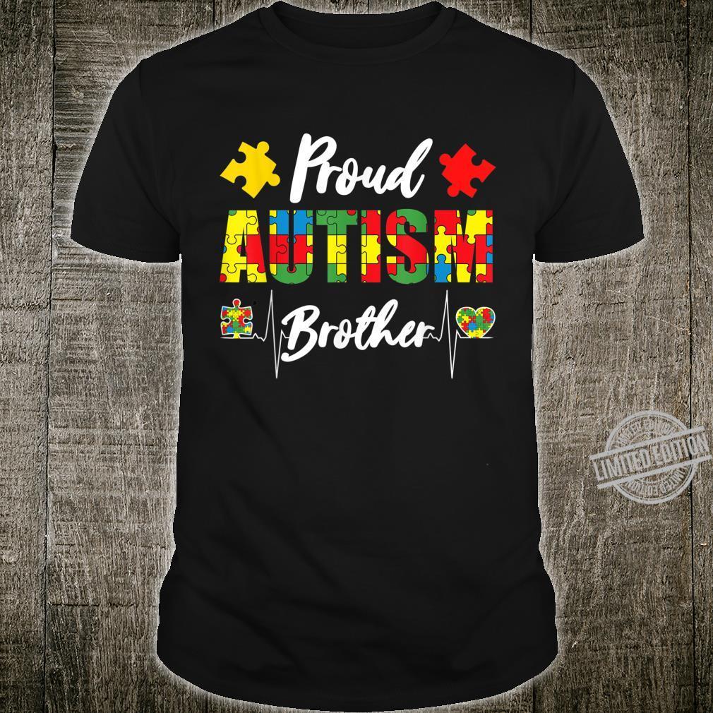 Proud Autism Brother Autism Awareness Puzzle Heartbeat Shirt