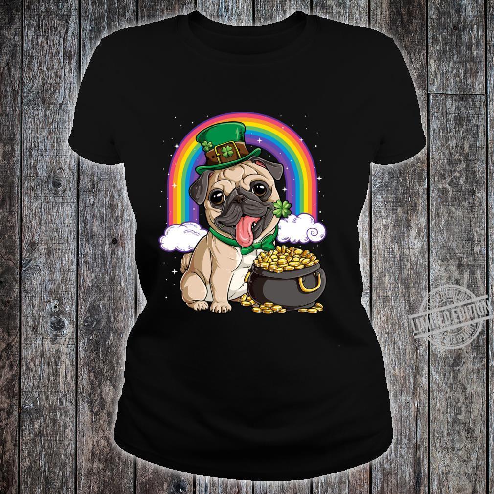 St Patricks Day Irish Pug Dog Boys Irish Flag Shirt ladies tee