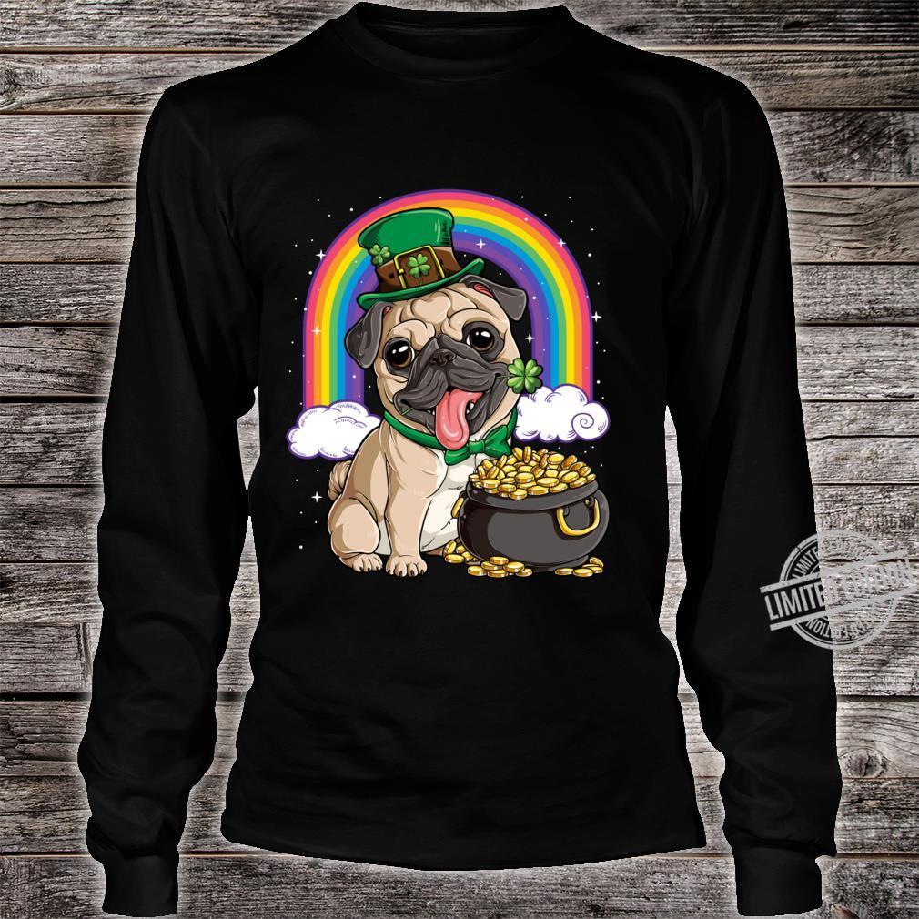 St Patricks Day Irish Pug Dog Boys Irish Flag Shirt long sleeved
