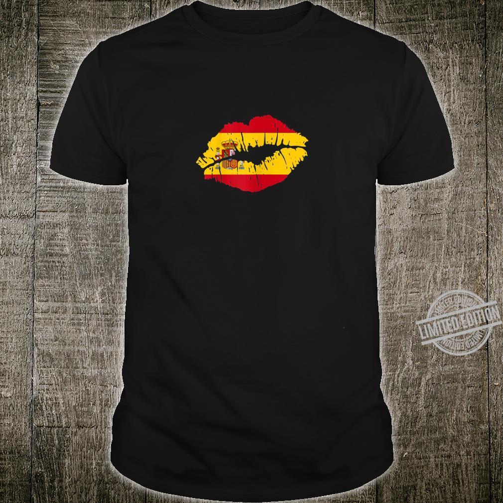 Womens Lips Kiss Sexy Spain Pride Shirt