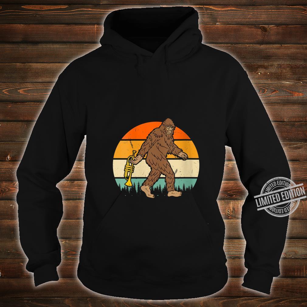 Womens Vintage Bigfoot Sasquatch Trumpet Birthday Christmas Shirt hoodie